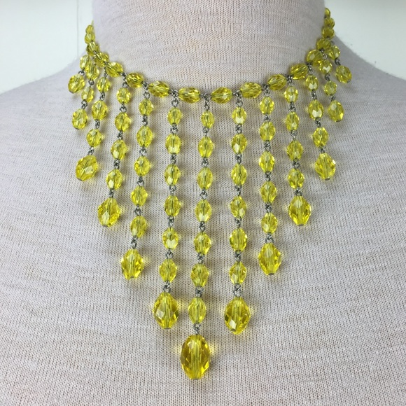 Vintage Jewelry - Vintage Fringe Yellow Faceted Crystal Bib Necklace